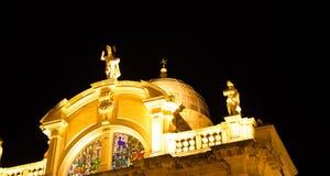Купол церков на ноче Дубровнике Стоковые Изображения RF