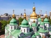 Куполы города собора и Киева Sophia Святого Стоковое Изображение RF