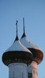 Куполы и заход солнца, Россия, Kargopol Стоковое Фото