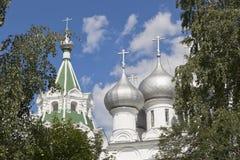 Куполы церков Tsarekonstantinovsky в городе Vologda Стоковое Изображение RF