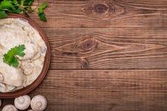 Куриная грудка в сметанообразном соусе гриба стоковые изображения