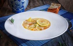 Куриный суп в белой плите с макаронными изделиями, лимоном и специями стоковое фото