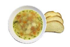 Куриный суп на таблице стоковое изображение