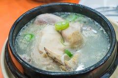 куриный суп с женьшенью, корейской едой Стоковые Фотографии RF