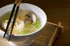 Куриный суп с овощами в шаре стоковое изображение rf
