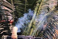 Курите вытекать из печной трубы дома причиняя загрязнение стоковые фотографии rf