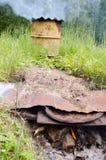 Ожог швырка бочонка коптильни дыма ржавый Стоковые Фотографии RF