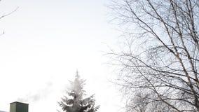 Курите приходить от зеленой печной трубы на снежной крыше в wintertime акции видеоматериалы