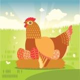Курица с пасхальными яйцами в гнезде Стоковые Фото