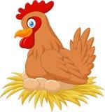Курица шаржа в гнезде размышляя ее яичко Стоковые Изображения RF