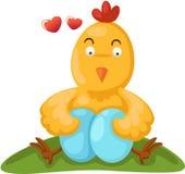 Курица шаржа с яичками Стоковые Изображения
