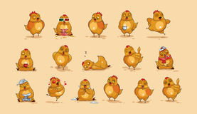 Курица шаржа характера Emoji Стоковое Фото