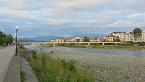 Курортный город Adler, обваловка реки Стоковое Фото