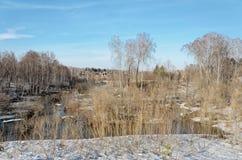 Курортный поселок в предыдущей весне Стоковые Изображения RF