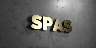 Курорты - знак золота установленный на лоснистой мраморной стене - 3D представили иллюстрацию неизрасходованного запаса королевск иллюстрация штока