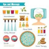 Курорт и массаж infographic иллюстрация вектора