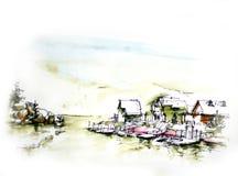 курорт кабины озером в illustrat горы Стоковые Фото