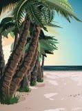 Курорт океана пляжа, лето Бесплатная Иллюстрация