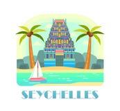 Курорт Сейшельских островов с пляжем и океаном Стоковое Изображение RF