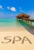 Курорт слова на пляже Стоковая Фотография RF