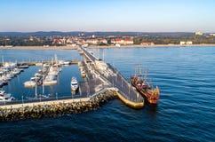 Курорт Sopot, Польша Вид с воздуха с пристанью и Мариной Стоковое фото RF