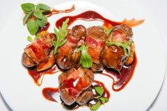 Курсы закусок, салатов, первого и второго, суп Стоковое фото RF