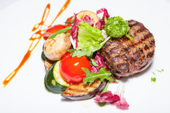 Курсы закусок, салатов, первого и второго, суп стоковое изображение rf