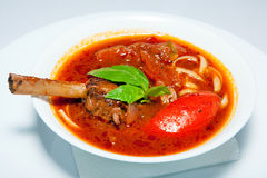 Курсы закусок, салатов, первого и второго, суп стоковое изображение