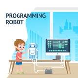 Курс цифров робота программирования школьника таланта иллюстрация штока