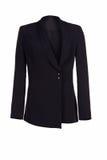 Куртка ` s женщин классическая черная изолированная на белой предпосылке стоковые изображения rf
