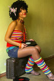 курчавая милая девушка диско Стоковое Фото
