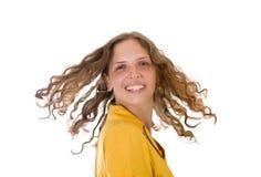 курчавые волосы девушки длиной Стоковая Фотография