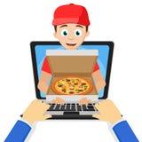 Курьер держит пиццу прямо от монитора ноутбука иллюстрация штока
