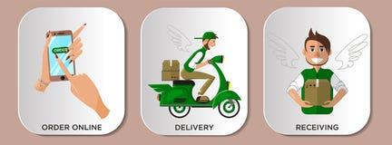 Курьер оказания услуг доставки Infographics Онлайн ходя по магазинам этапы бесплатная иллюстрация