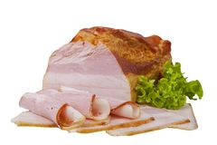 Курят шея свинины Кусок мясного продукта частично прерванный и свернутый белизна изолированная предпосылкой стоковые фотографии rf