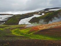 Куря горячий геотермический поток реки в Landmanalaugar Стоковые Изображения RF