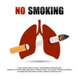 Куря знамя запрета сигареты иллюстрация штока