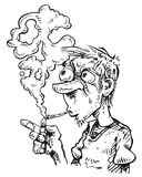 Куря человек в черно-белом Иллюстрация вектора