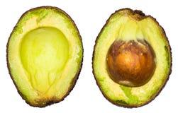 2 куска авокадоа изолированного на белой предпосылке Одно slic Стоковое Фото