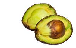 2 куска авокадоа изолированного на белой предпосылке Одно slic Стоковые Фото