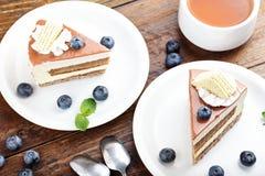 2 куска торта с голубиками Стоковые Изображения