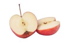 2 куска яблока изолированного на белой предпосылке Стоковое Фото