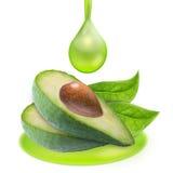 Куски авокадоа и масло падения изолированное с путем клиппирования Стоковое Изображение RF