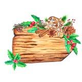 Куски акварели деревянные с оформлением рождества иллюстрация штока