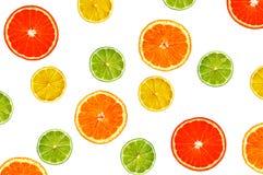 Куски апельсина, лимона, известки и грейпфрута изолированных на белизне Стоковое Изображение RF