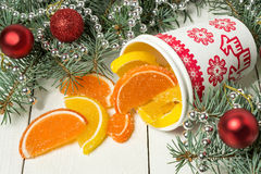 Куски апельсина и лимона мармелада для рождества Стоковые Фотографии RF