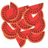 Куски арбуза также вектор иллюстрации притяжки corel Frutis Стоковое фото RF
