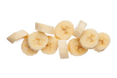 Куски банана изолированные на белой предпосылке Стоковая Фотография