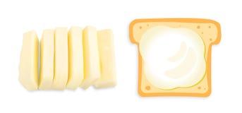 Куски изолированных масла или маргарина иллюстрация штока