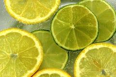 Куски лимона и известки в caronated воде Стоковая Фотография RF